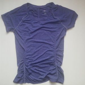 S | TANGERINE | ruched workout yoga tech top